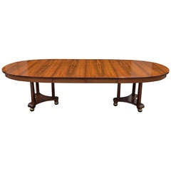 Rosewood Neoclassical / French Empire Style Banquet / Dining Table w/ 2 Leaves