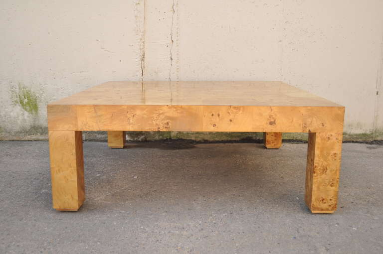 Mid Century Modern Burl Patchwork Parsons Square Coffee Table Attr. Milo  Baughman For Thayer