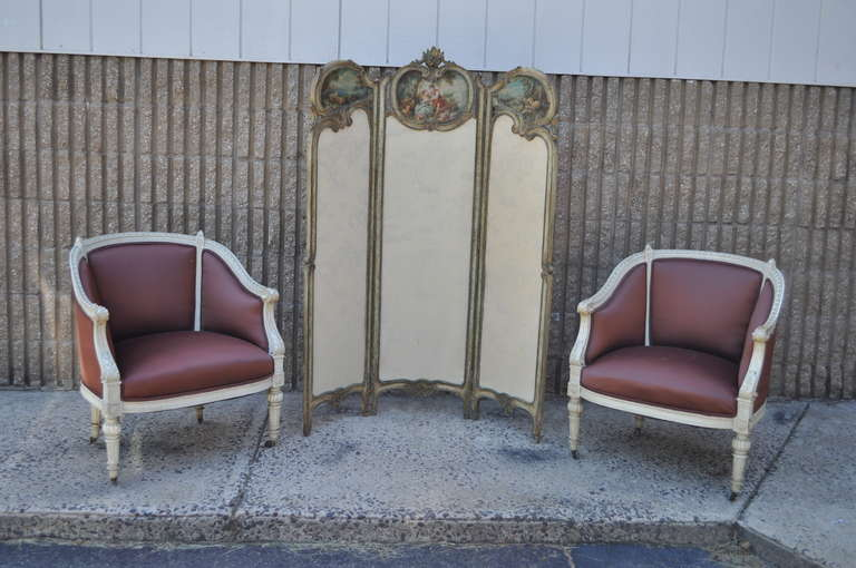 19th C. French Louis XV Style Hand Painted & Carved Petite Small Dressing Screen For Sale 4