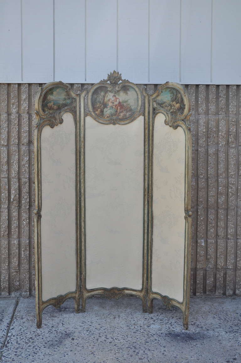 19th Century 19th C. French Louis XV Style Hand Painted & Carved Petite Small Dressing Screen For Sale