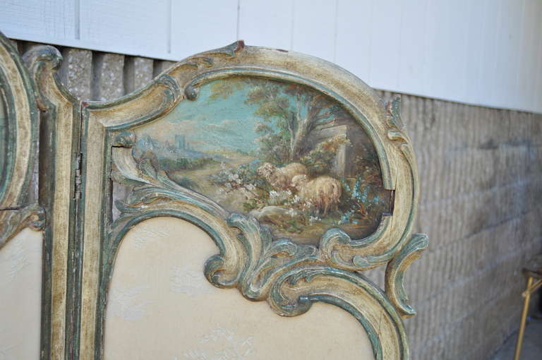 Wood 19th C. French Louis XV Style Hand Painted & Carved Petite Small Dressing Screen For Sale