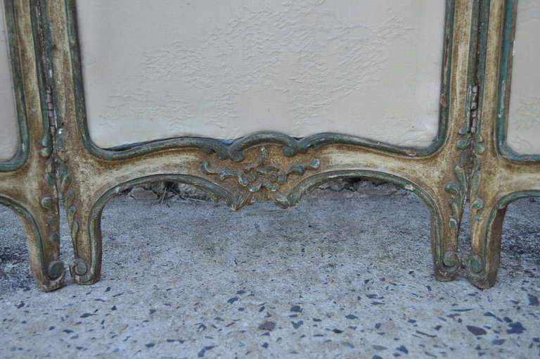 19th C. French Louis XV Style Hand Painted & Carved Petite Small Dressing Screen For Sale 1