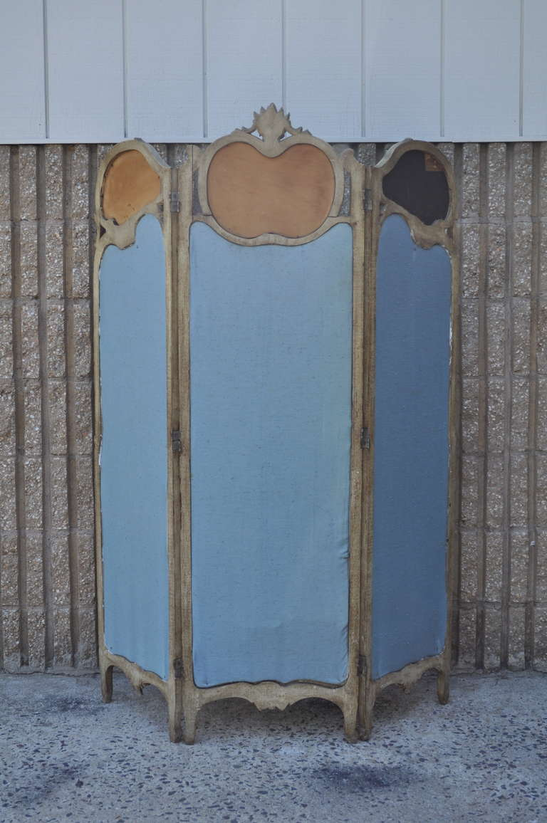 19th C. French Louis XV Style Hand Painted & Carved Petite Small Dressing Screen For Sale 3
