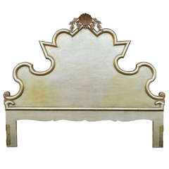 Vintage Silver / Gold Gilt Italian Hollywood Regency Shell Carved King Headboard