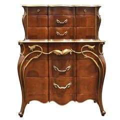 Vintage Art Nouveau Style Solid Cherry Tall Chest or Dresser, Hollywood Regency