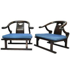 Pair Michael Taylor for Baker  Far East Collection Oriental Lounge Chairs