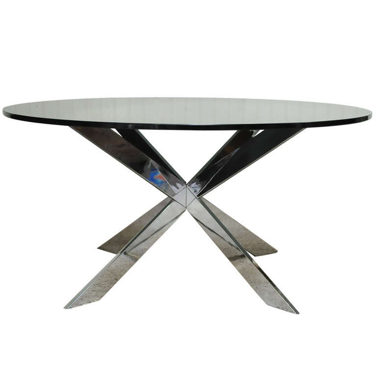 Chrome Star X Base Coffee Table w/ Round Smoked Glass by Leon Rosen for Pace