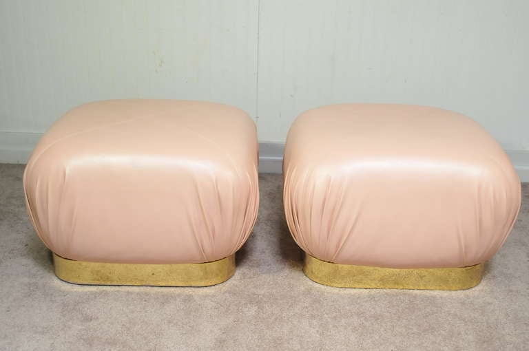 Pair Karl Springer Large Brass And Pink Leather Souffle