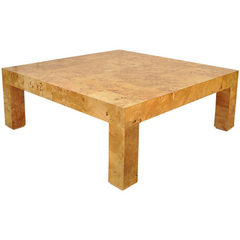 Burl Patchwork Parsons Square Coffee Table Attr Milo Baughman For Thayer Coggin At 1stdibs