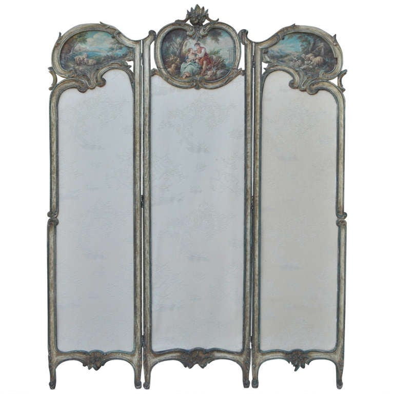 19th C. French Louis XV Style Hand Painted & Carved Petite Dressing Screen