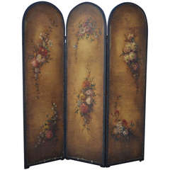 C. 1920 Hand Painted Floral Oil on Canvas 3 Panel French Dressing Screen