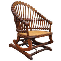 1880s George Hunzinger Victorian Platform Lollipop Rocker or Rocking Chair