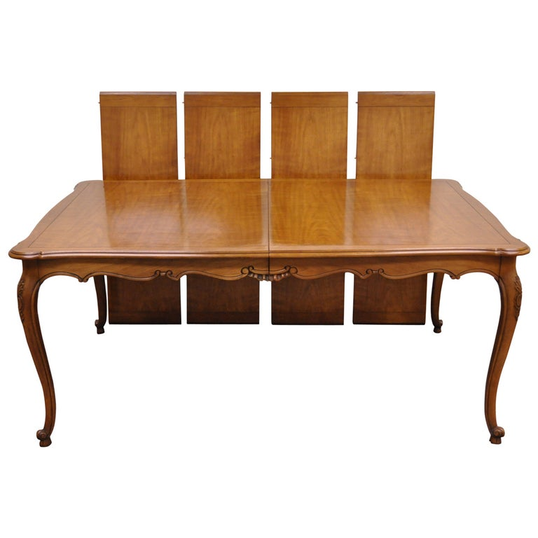 Kindel Borghese French Country Louis XV Style Cherry Wood Dining Table 4  Leaves