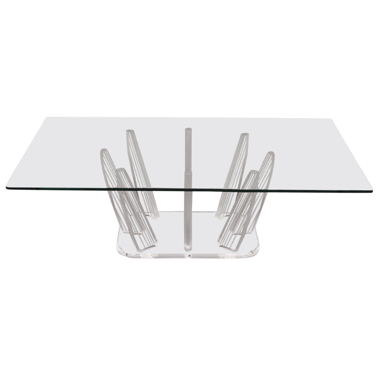"Mid-Century Modern Sculptural Lucite and Glass ""Fingers"" Coffee Table"