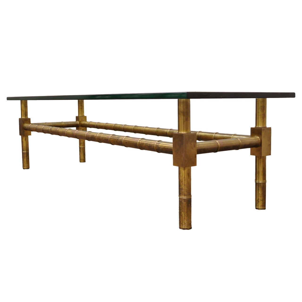 Hollywood Regency Brass Faux Bamboo Rectangular Glass Coffee Table Mastercraft