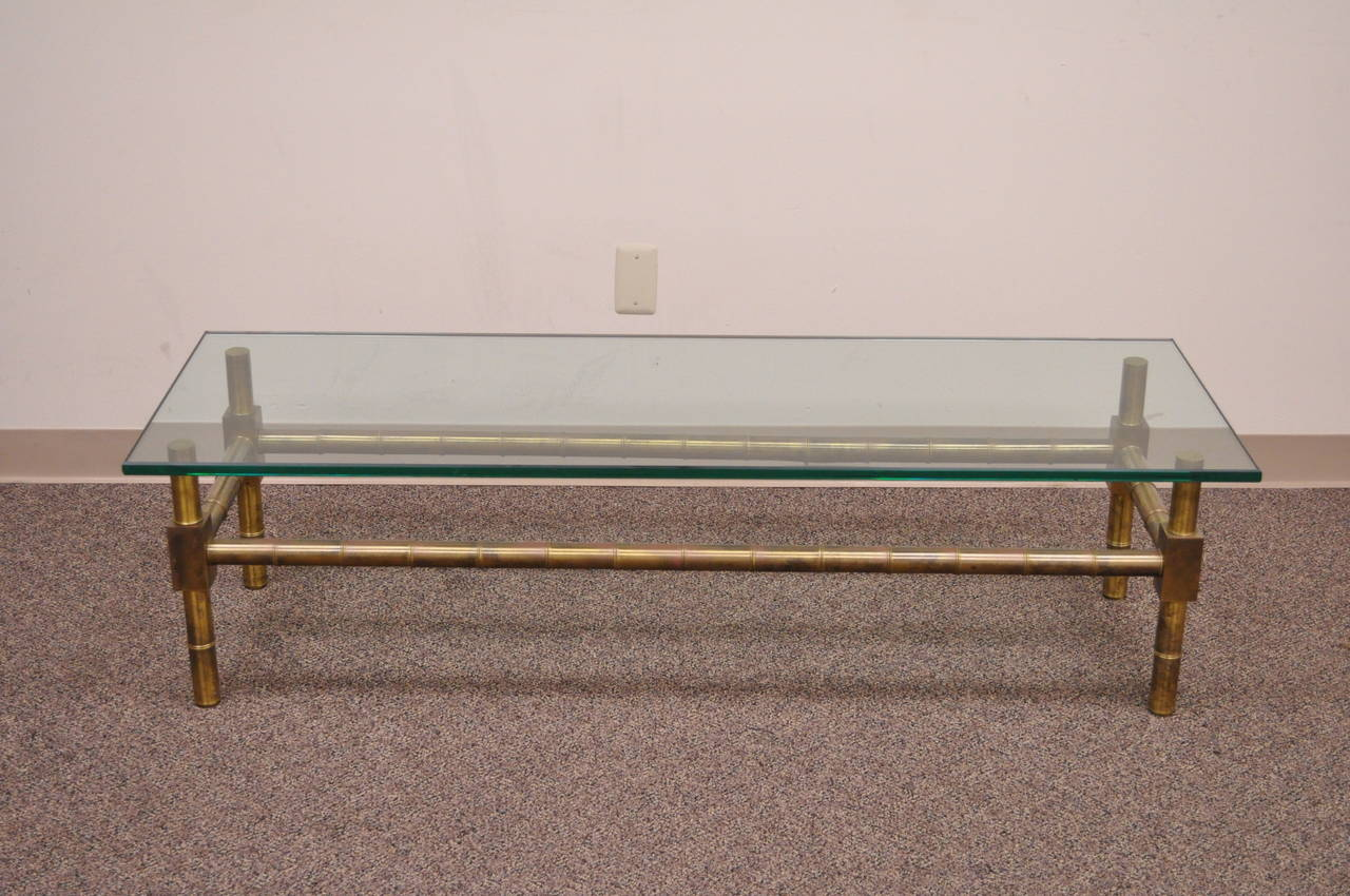 Hollywood Regency Brass Faux Bamboo and Glass Coffee Table after Mastercraft For Sale 4