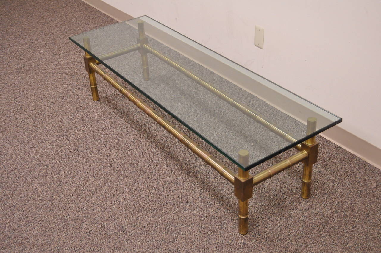 American Hollywood Regency Brass Faux Bamboo and Glass Coffee Table after Mastercraft For Sale