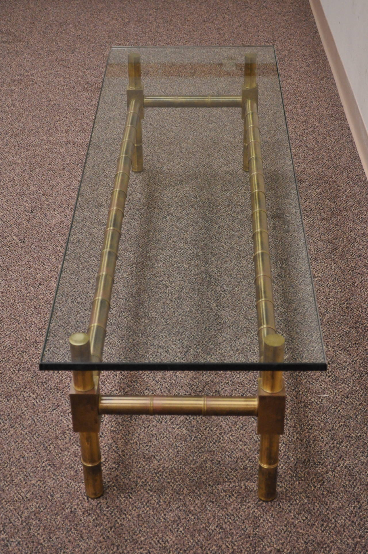 Hollywood Regency Brass Faux Bamboo and Glass Coffee Table after Mastercraft For Sale 1