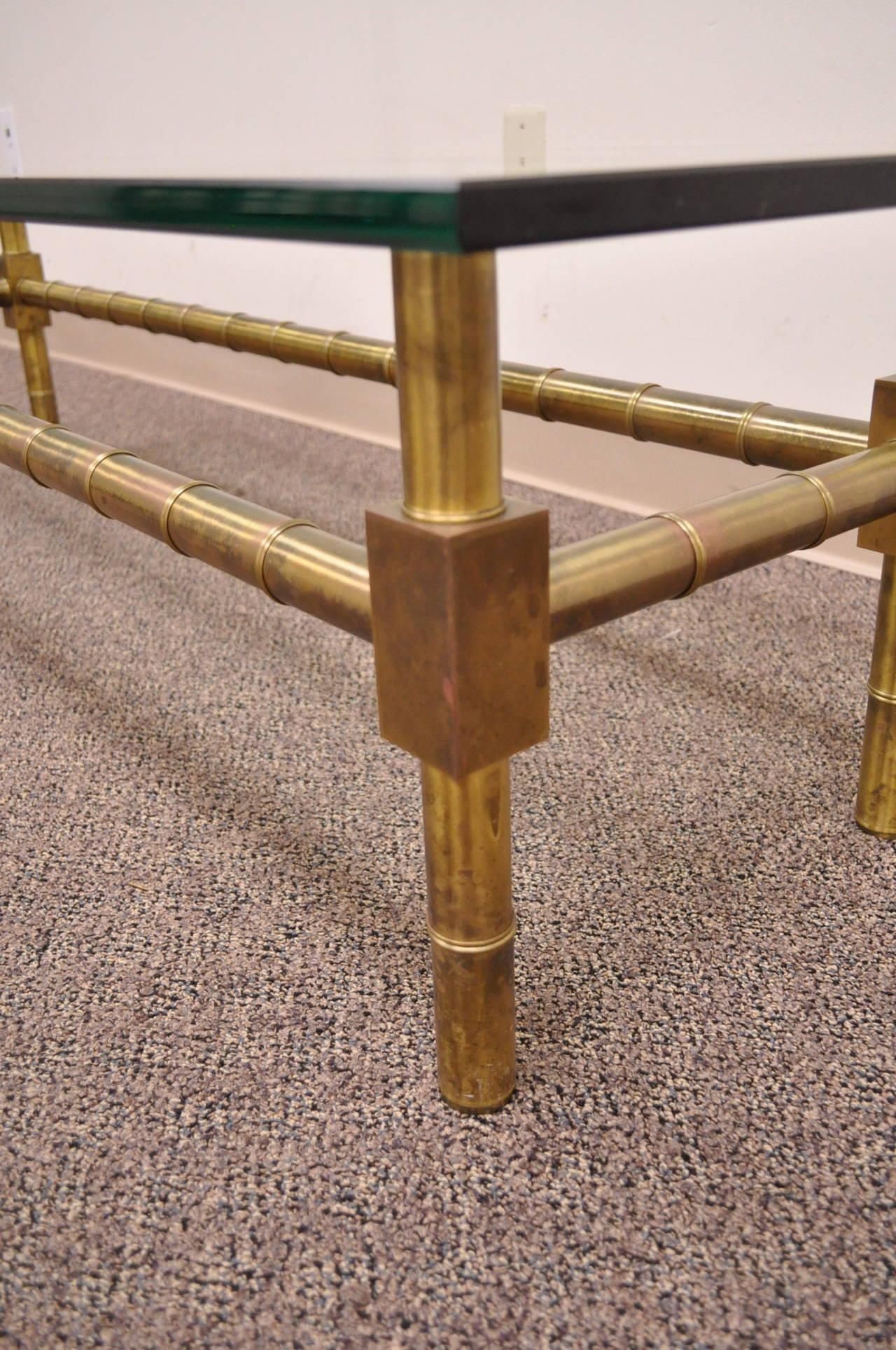 Rectangular Glass Coffee Table: Hollywood Regency Brass Faux Bamboo Rectangular Glass