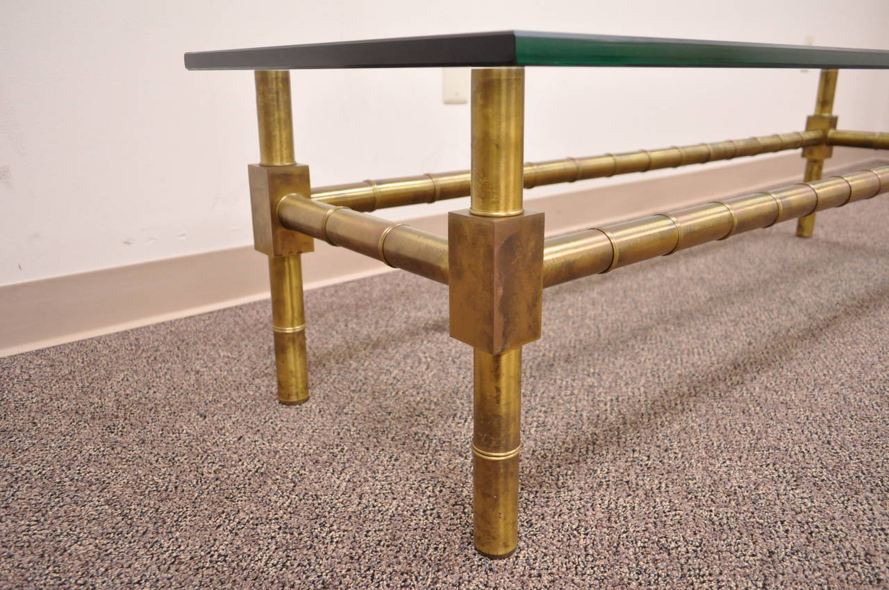 Hollywood Regency Brass Faux Bamboo and Glass Coffee Table after Mastercraft In Excellent Condition For Sale In Philadelphia, PA