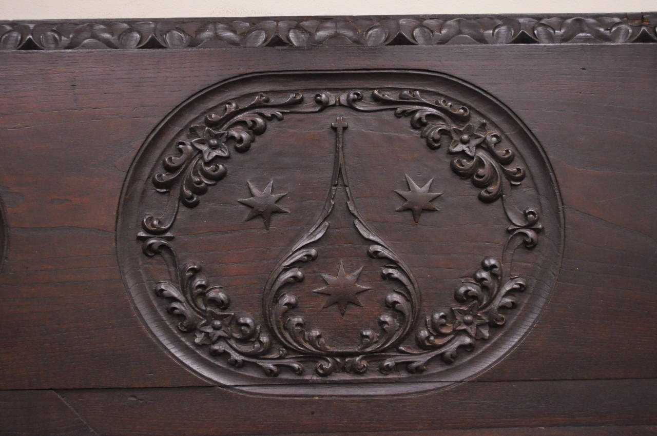 18th Century and Earlier 17th Century English Renaissance Carved Oak and Wrought Iron Bench Banquette For Sale