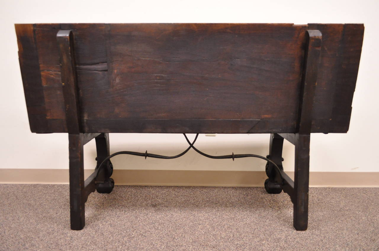 17th Century English Renaissance Carved Oak and Wrought Iron Bench Banquette For Sale 5
