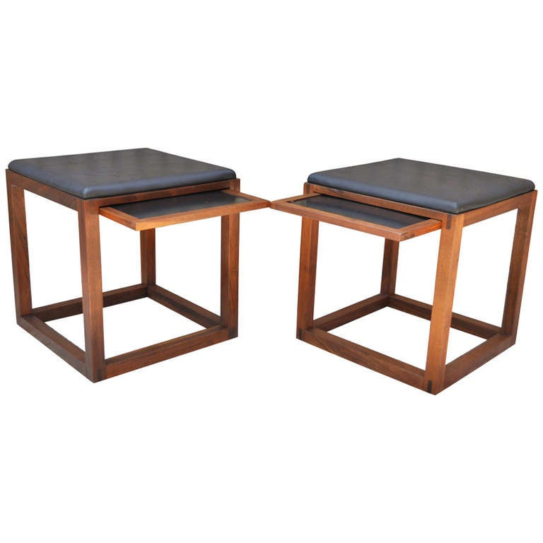 Pair Of Walnut Pull Out Tray Side Tables Stools After Ed