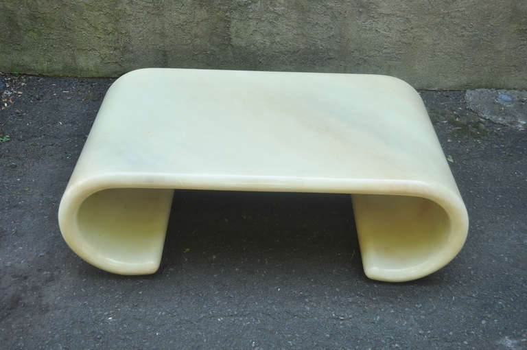 Mid Century Modern Lacquered Goatskin Scroll Coffee Table Attributed To Karl Springer At 1stdibs