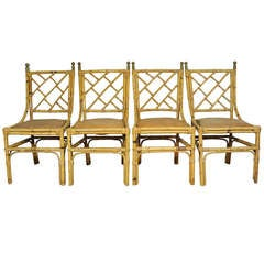 4 Real not Faux Bamboo 1940's Chinese Chippendale Chairs - Hollywood Regency