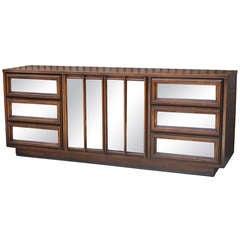 Mid Century Modern Antiqued Mirror Dresser / Credenza Cabinet - Danish Style