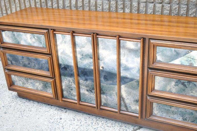 mid century modern antiqued mirror dresser credenza cabinet
