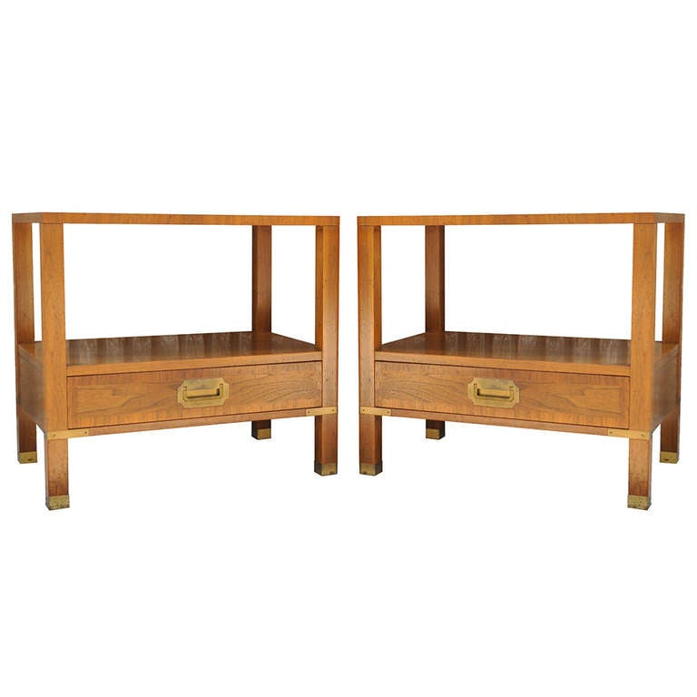 Baker Furniture Milling Road Coffee Table: Pair Of Baker Milling Road Banded Campaign Chest Style