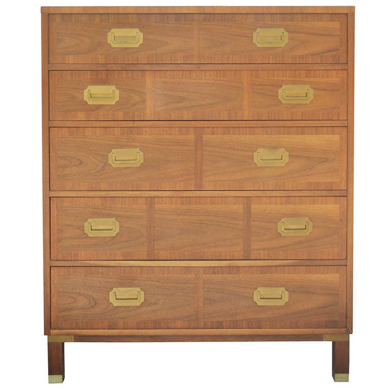 Baker Milling Road Banded Front Campaign Style Tall Chest Of Drawers Dresser 1