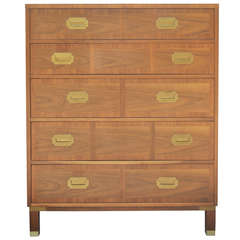 Baker Milling Road Banded Front Campaign Style Tall Chest of Drawers - Dresser