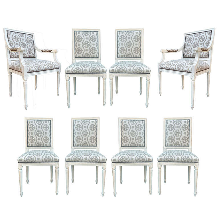 Set of eight 20th century french louis xvi style cream for French style dining room furniture