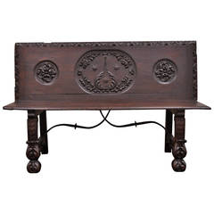 17th Century English Renaissance Carved Oak and Wrought Iron Bench Seat
