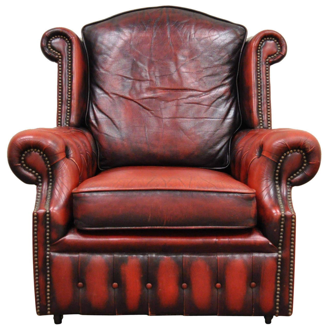 Striking Rolled Arm Tufted Chesterfield Style Lounge Chair in Red Leather For Sale