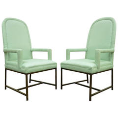 Pair of Modernist Armchairs with Brushed Metal Bases in the Milo Baughman Style
