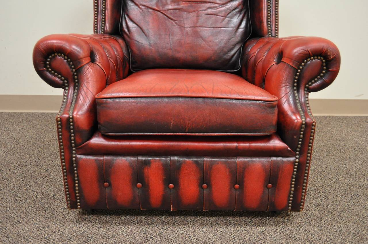 Mid-20th Century Striking Rolled Arm Tufted Chesterfield Style Lounge Chair in Red Leather For Sale