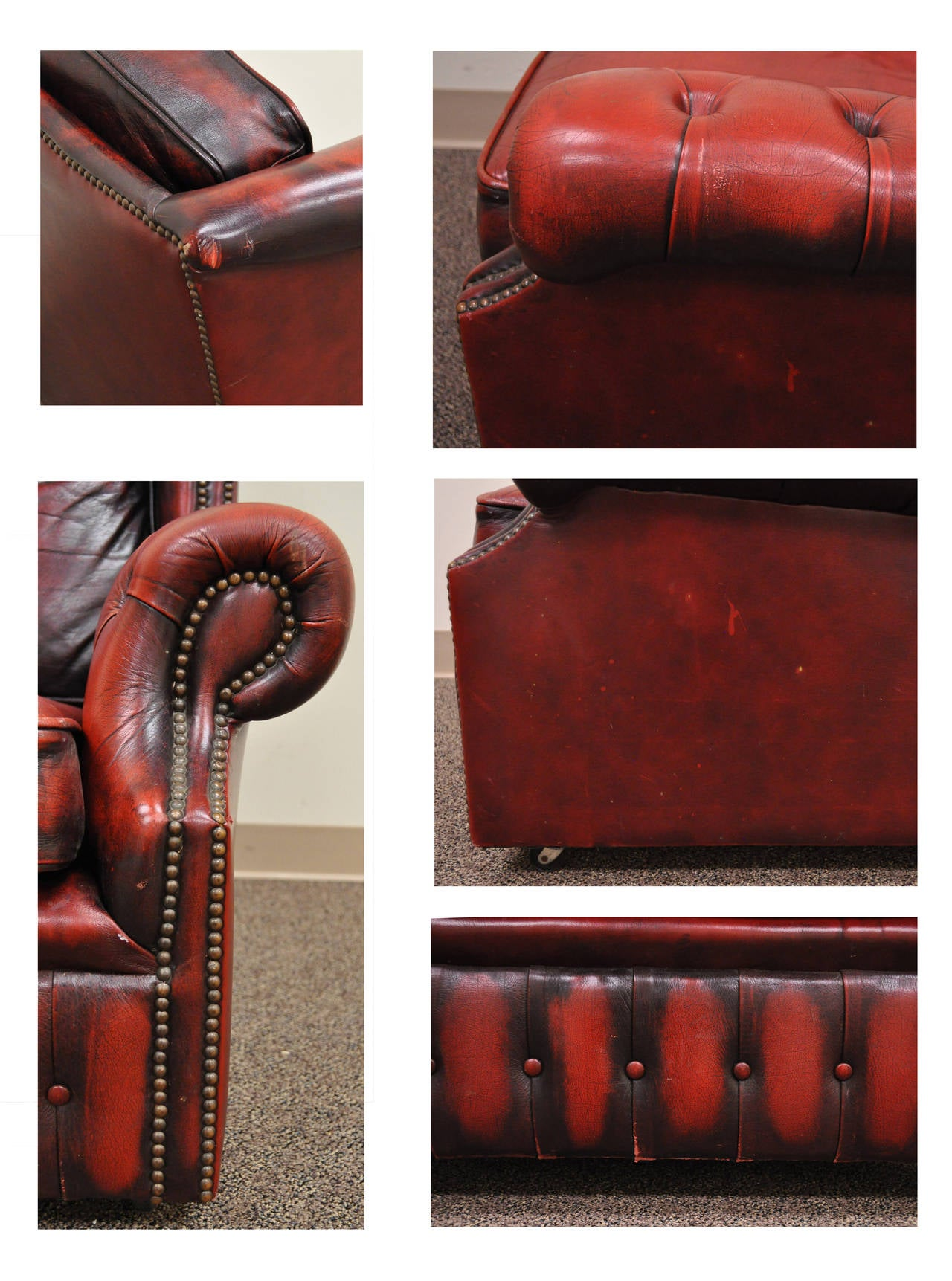 Striking Rolled Arm Tufted Chesterfield Style Lounge Chair in Red Leather For Sale 1