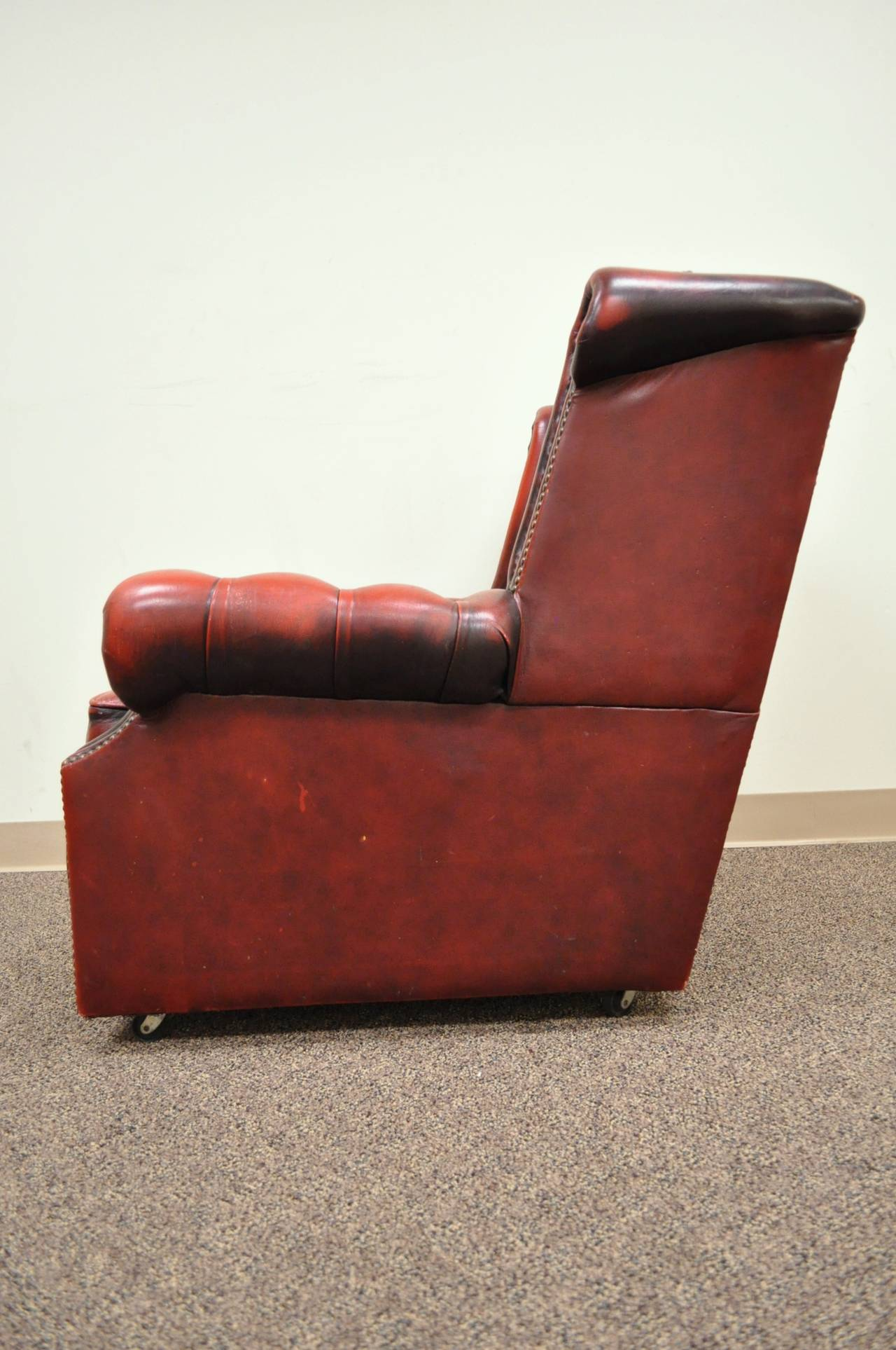 Striking Rolled Arm Tufted Chesterfield Style Lounge Chair in Red Leather For Sale 2