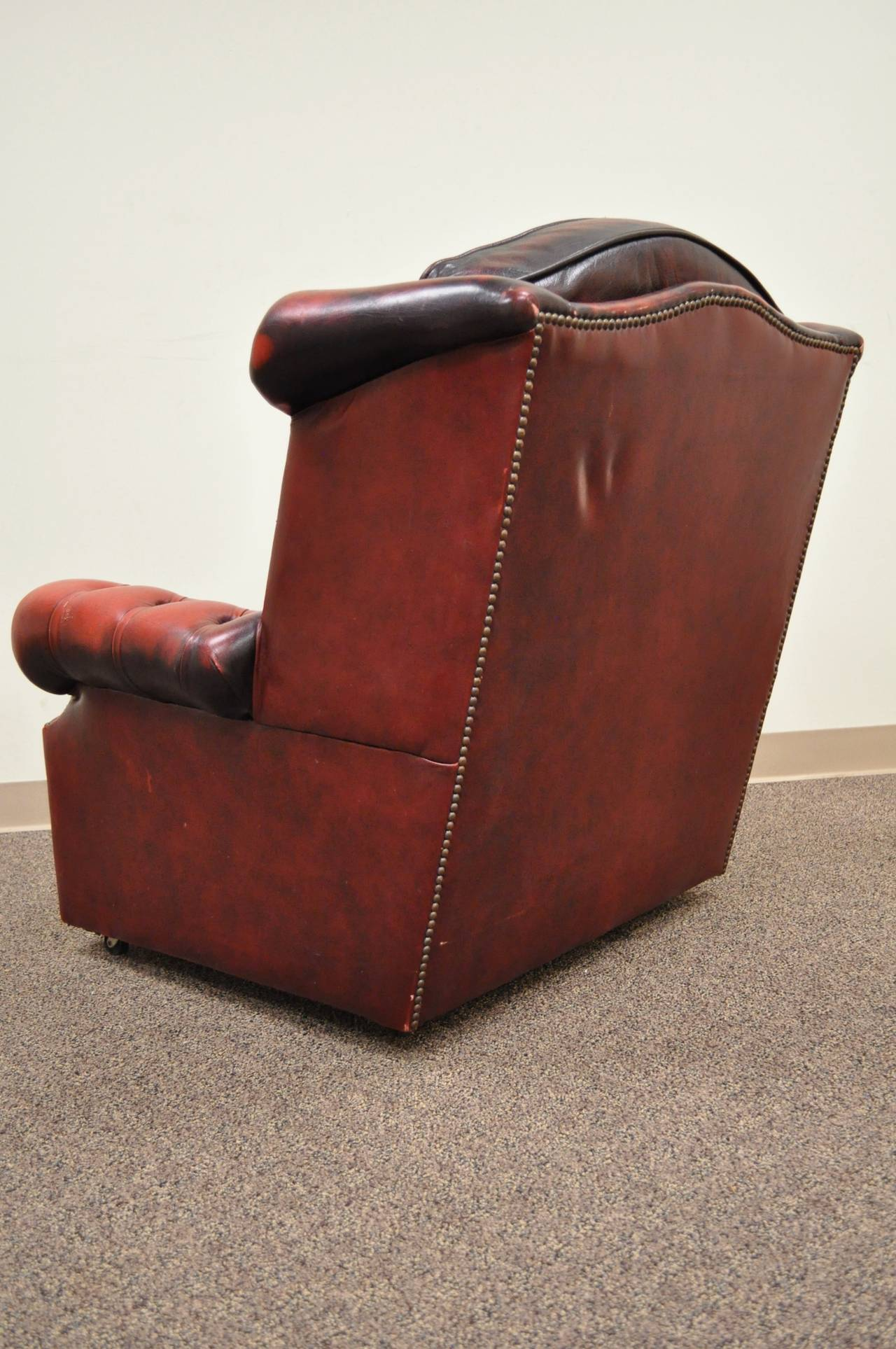 Striking Rolled Arm Tufted Chesterfield Style Lounge Chair in Red Leather For Sale 3