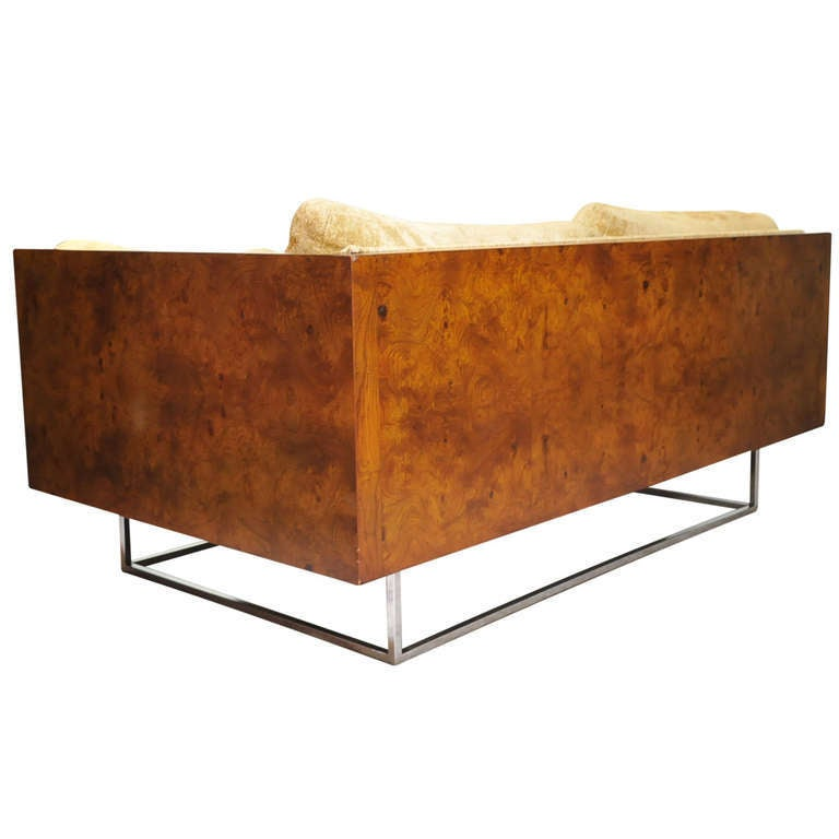 Milo Baughman Burl Wood & Chrome Cube Case Settee - Thayer Coggin Sofa