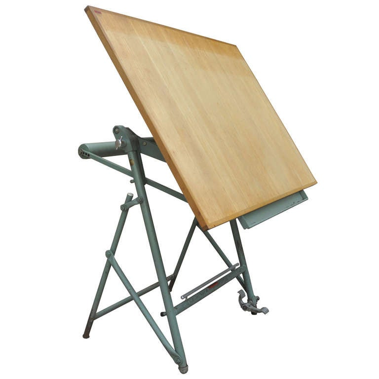 1950 French Unic Studio Iron Counterbalance Drafting Table Architect Artist  Desk For Sale