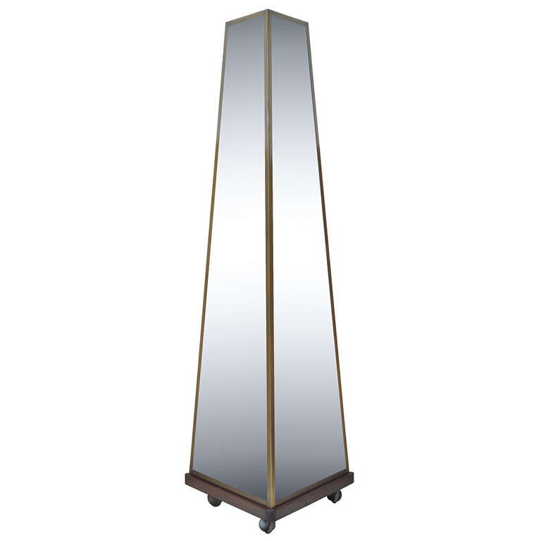 Bronze and glass pyramid triple dressing mirror on casters for Glass floor mirror
