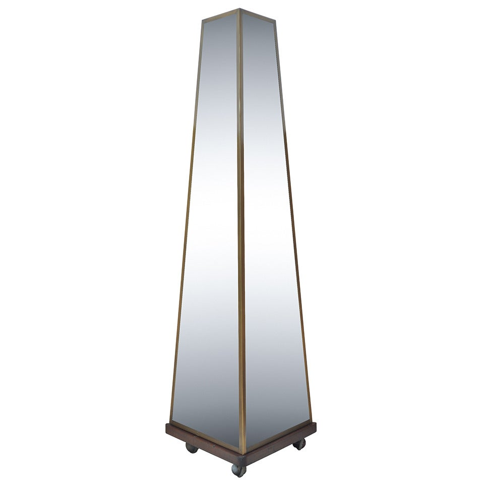 "Bronze & Glass 70"" Maison Jansen Style Pyramid Tall Triple Dressing Floor Mirror"