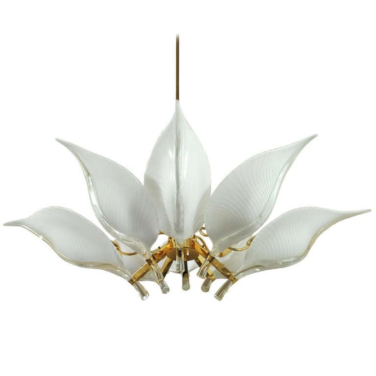 Murano handblown glass lotus leaf and brass hollywood regency murano handblown glass lotus leaf brass hollywood regency chandelier 1 mozeypictures Gallery
