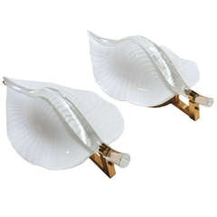 Large Pair of Murano Blown Glass Leaf Brass Hollywood Regency Wall Light Sconces