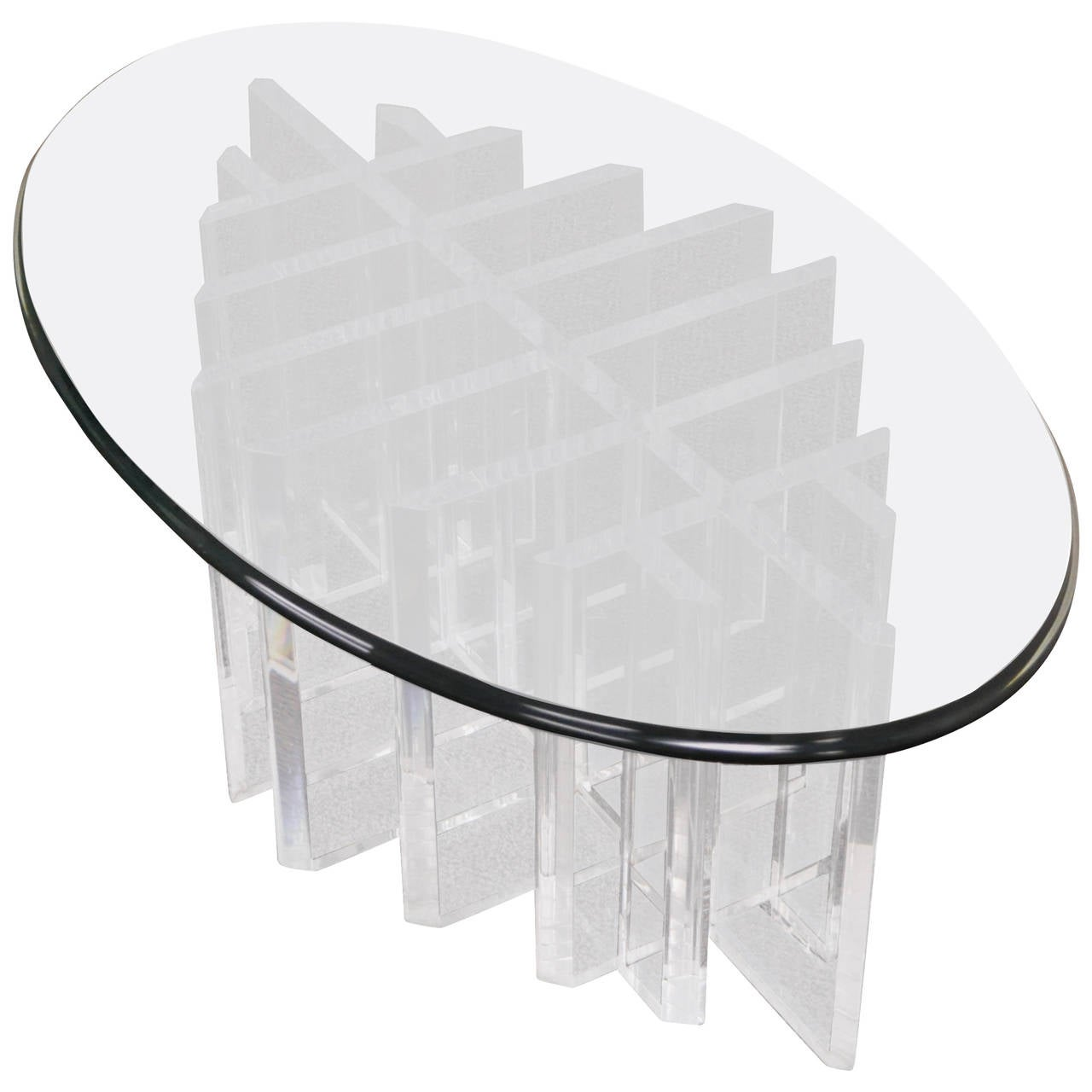 Modern Sculptural Lucite and Glass Grid Coffee Table after Jeffrey Bigelow