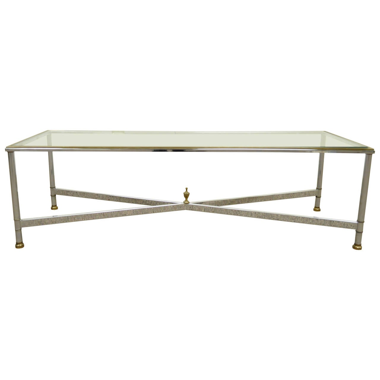 Neoclassical Style Chrome, Brass, & Glass Coffee Table after Maison Jansen